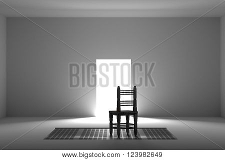 White Room With One Wooden Chair