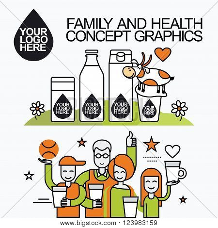 Concept of a family who leads a healthy lifestyle and drinking milk. Character for milk packaging with a logo for branding, packaging, advertising printing, for website banner and landing page.