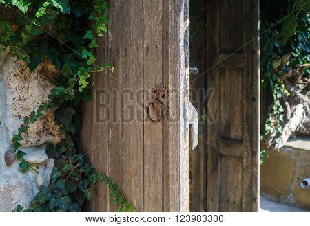 Old weathered wooden door with rusty handle. Rustic door. Shallow depth of field. Selective focus. poster