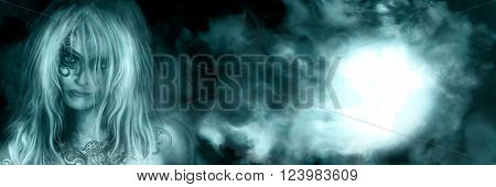 Illustration background with abstract night sky and mysterious woman with tattooed face