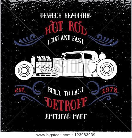 Hot rod vehicle design and decoration elements.Typography t-shirt design for apparel.