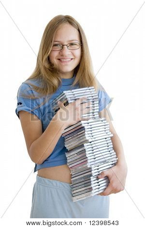 smiling girl with her cd collectiom poster