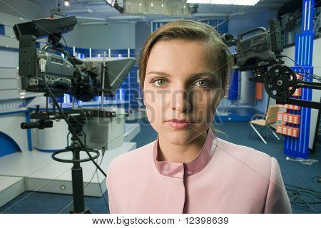woman portrait in tv  studio