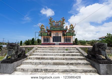 OKINAWA, JAPAN - AUG. 15 2015: Chinese Cemetery in Ishigaki Island, Okinawa Japan. It was build in 1971 for memorial of Chinese victims of