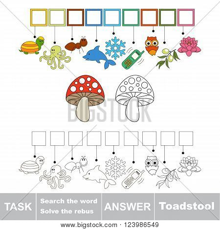 Vector rebus game for children. Find solution and write the hidden word Toadstool
