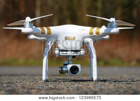 PILSEN CZECH REPUBLIC - MARCH 31, 2016: Drone quadrocopter Dji Phantom 3 Professional with high resolution digital camera. New tool for aerial photo and video.