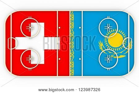 Switzerland vs Kazakhstan. Ice hockey competition 2016. National flags on playground. 3D rendering
