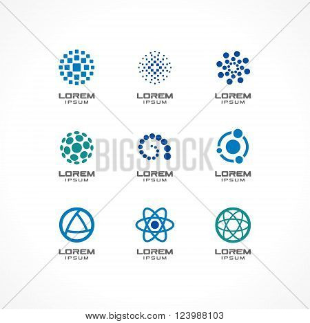 Set of icon design elements. Abstract logo ideas for business company, communication, technology, science and medical concepts.  Pictograms for corporate identity template. Stock Illustration Vector
