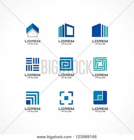 Set of icon design elements. Abstract logo ideas for business company. Building, construction, house, connection, technology concepts.  Pictograms for corporate identity template. Stock Illustratio. Vector