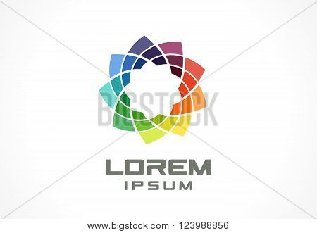 Colorful icon design element. Abstract logo idea for business company.  Eco, green, flower, SPA, Cosmetics and medical concepts.  Pictogram for corporate identity template. Stock Illustration Vector