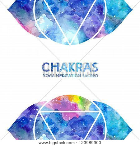 Vector background. Watercolor ajna chakra on white background, colorful elements, bright texture. Perfect for yoga, spa, meditation practice, ayurveda invitations, greetings
