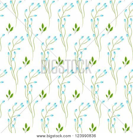 Wild fine blue flower spring field seamless pattern. Floral tender fine summer vector pattern on white background. For fabric textile prints and apparel.