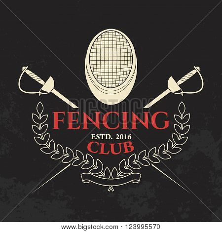 Fencing club label template. Fecting club icon. Fecting sport. fencing swords. Vector design element.