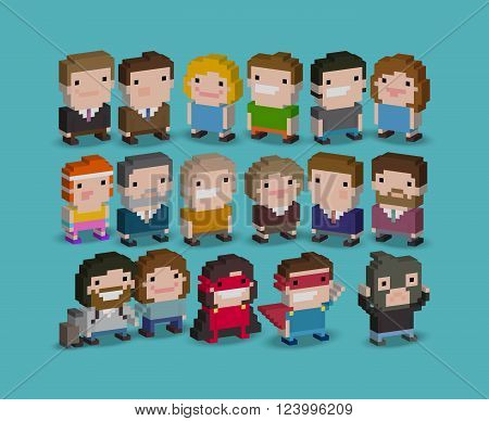 Different 3d pixel art 8-bit people characters
