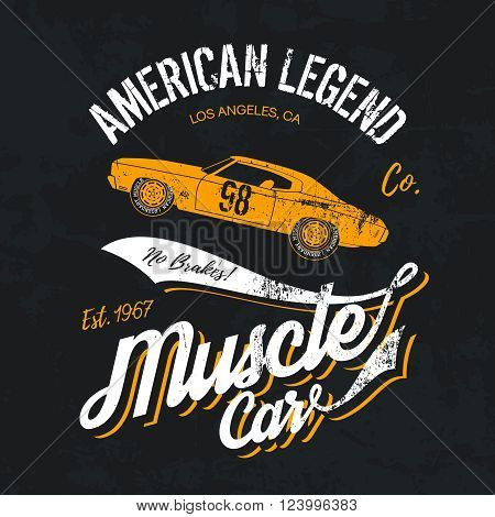 Vintage American muscle car old grunge effect tee print vector design illustration. 