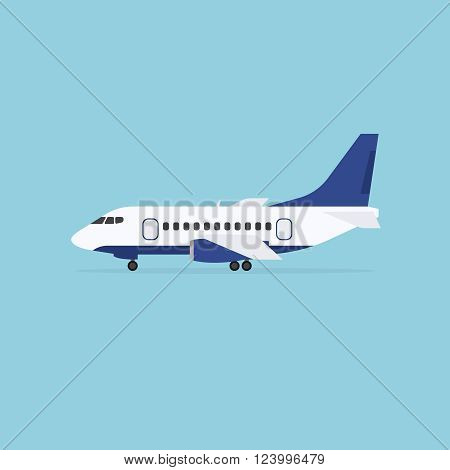 Airplane staying on the ground isolated on blue background