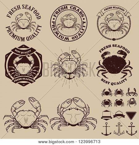 Set of the crab meat labels emblems and design elements. Crab icons. Crab logo template. Crabs silhouettes. Vector design elements.