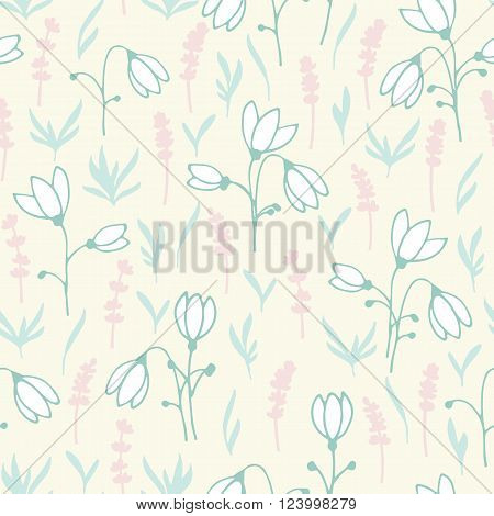 Light seamless vernal pattern with hand-painted snowdrops