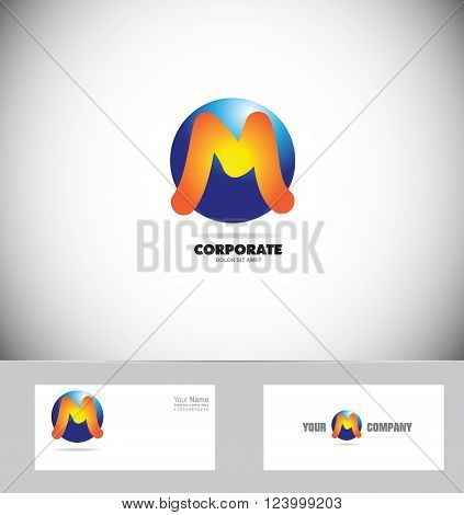 Vector company logo icon element template alphabet letter M sphere circle