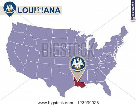 Louisiana State On Usa Map. Louisiana Flag And Map.