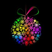 Multicolored Christmas ball made of snowflakes and stars on black background. Vector eps10 illustration poster