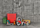 Auto parts with shopping trolley in garage. Automotive basket shop. Auto parts store. poster