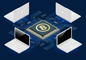 Bitcoin mining equipment. Digital Bitcoin. Golden coin with Bitcoin symbol in electronic environment. Flat 3d isometry isometric online mining bitcoin concept poster
