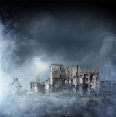 Apocalyptic ruins of the city. Disaster effect. poster