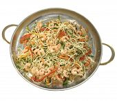 Macaroni with shrimps and vegetables in ware for supper preparation poster