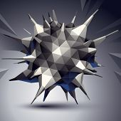 Vector complicated 3d figure modern digital technology style form. Abstract unusual background. poster