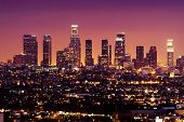 Downtown Los Angeles skyline at night California USA poster