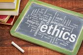 ethics and moral dilemma word cloud - white chalk text on  a slate blackboard with a stack of books poster