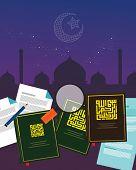 fiqh fiqih Islamic jurisprudence study islam religion literature books  Sharia  divine law vector poster