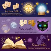 Astrology and alchemy banners alchemy magic open book fortune telling poster
