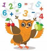Funny Owl Learn To Count And Numerals On A White Background. Cartoon Vector Illustrations. Owl Picture. Owl Memes. Owl Jokes. Owl Sayings. Owl Champion. Owl Gifts. Owl Toy. Owl Sticker. Owl Costume. poster