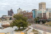 Panorama of Downtown Memphis Tennessee from Beale Street Landing poster
