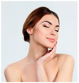 The young female with clean fresh skin, antiaging and thread lifting concept poster