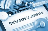 Parkinson's Disease, Medical Concept with Pills, Injections and Syringe. Diagnosis - Parkinson's Disease On Background of Medicaments Composition - Pills, Injections and Syringe. Toned Image. 3D. poster
