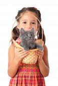 Little girl with gray kitty in wicker isolated on white poster