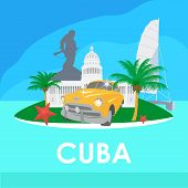 Cuba travel symbols - capitol old car palms starfish Che Guevara monument poster
