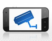Privacy concept: Smartphone with blue Cctv Camera icon on display poster