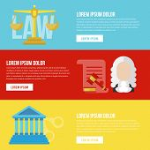Legal law concept banners. Legal vector. Law flat banners. Legal flat lawyer. Honest lawyer. Collection of law banners for web with buttons. Trial and gavel elements poster