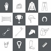 Set of horse riding objects. Show jumping concept with horse equipment (saddle spurs brush) rider clothes (helmet jacket pants) barrier prize. Equestrian competition. Healthy outdoor activity design poster