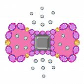 Gemstone asscher cut bow brooch isolated on white background vector illustration poster