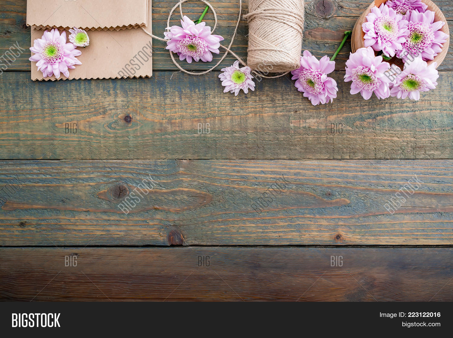 Pink Flowers Twine Image Photo Free Trial Bigstock