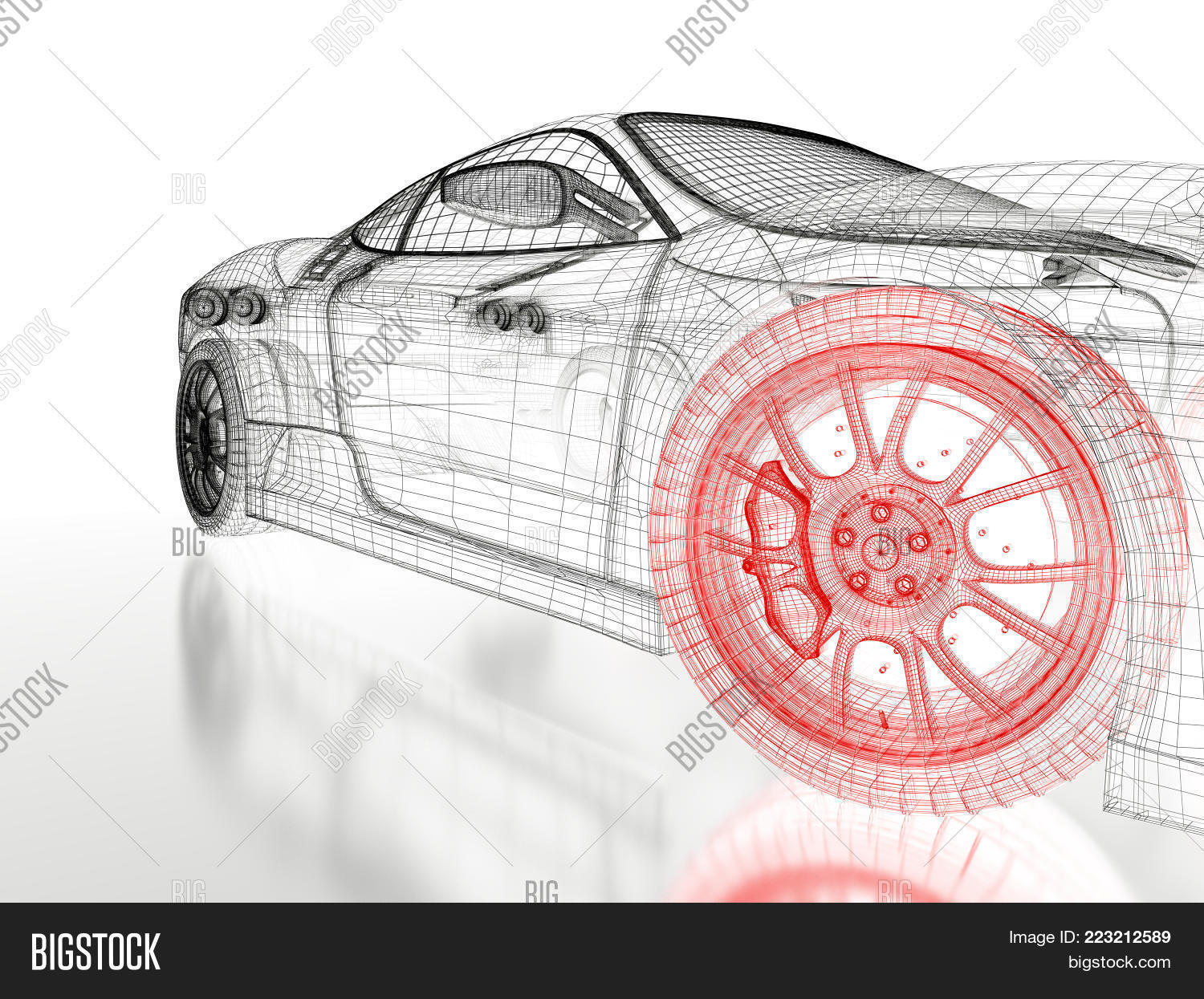 Car vehicle 3d image photo free trial bigstock car vehicle 3d blueprint mesh model with a red wheel tire on a white background malvernweather Gallery