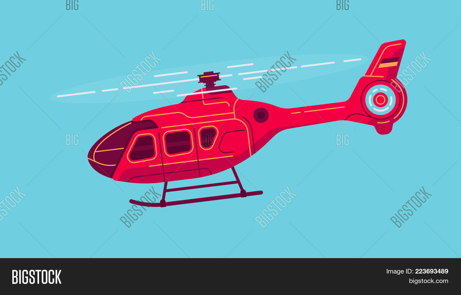 Cool Vector Civil Helicopter Airway Transport Vehicle All Purpose Aircraft In Trendy Flat Design
