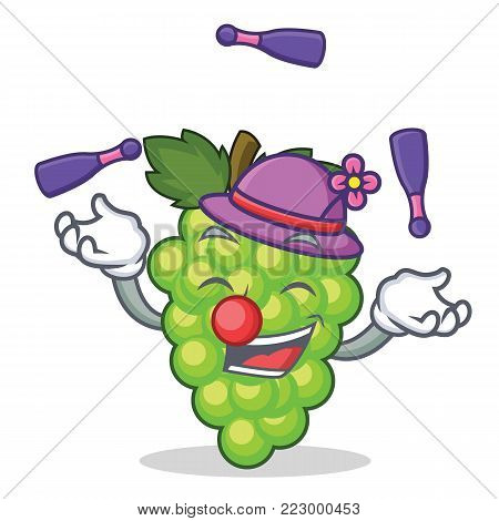 Juggling green grapes mascot cartoon vector illustration