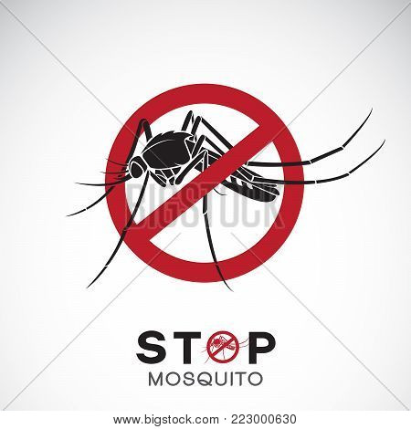 Vector of mosquito in red stop sign on white background. Insect. Epidemic virus prevention concept. Easy editable layered vector illustration.