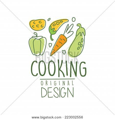 Original hand drawn design with fresh vegetables for cooking school, home kitchen. Abstract logo for organic food cafe. Culinary line label with carrot, pepper, eggplant. Vector illustration on white.